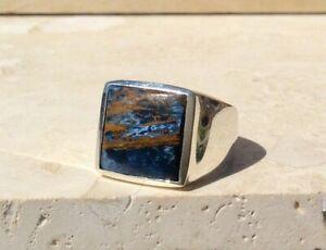 925 Sterling Silver Overlay Pietersite Jasper Gemstone Huge Big Boys Mens Ring