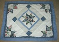 QUILTED STAR NAVY OFF WHITE GRAY BURGUNDY FLORAL Standard Size Pillow Sham 20x26