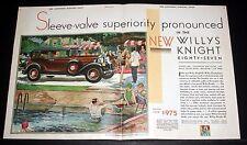1930 OLD MAGAZINE PRINT AD, NEW WILLYS KNIGHT 87, SLEEVE VALVE SUPERIORITY, ART!