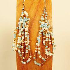 "2 1/2"" Blue Gold Color Simple Style Handmade Dangle Hoop Seed Bead Earring"