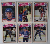 1988-89 Topps Edmonton Oilers Team Set of 6 Hockey Cards