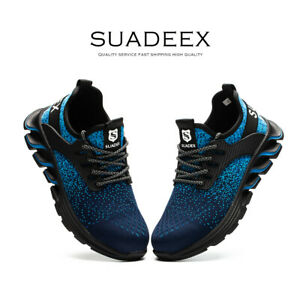 Mens Work Boots Sneaker Walking Waterproof Steel Toe Safety Shoes Hiking Blue US