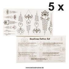 5 x 11-teiliges Unalome Tattoo Set - 22 Buddhistische Symbole - Henna Style (5)