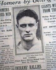 LOU GEHRIG New York Yankees Baseball 2 HR Home Runs w/ PHOTO 1930 NYC Newspaper