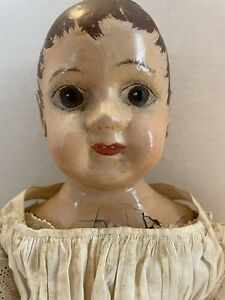 """Antique Painted Cloth Izannah Walker Type Doll 20"""""""