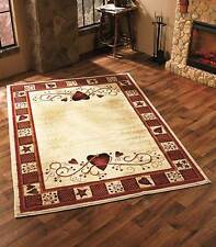 "Hearts & Berries Area Rug 63"" x 90""  Primitive Country Living Room Home Decor"