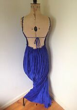 Ladies Blue Backless Pleated Maxi Dress UK 8