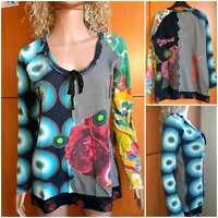 "DESIGUAL Women's multicolor blouse ""HAPPY"",long sleeve,round neckline.Size ХL"
