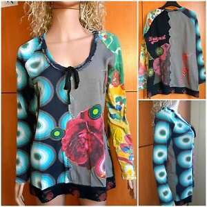 "DESIGUAL Women's multicolor blouse ""HAPPY"",long sleeve,round neckline.Size ХL"