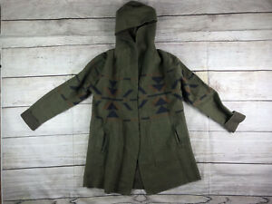 Toad and co womans native print open cardigan with hood green size XL Wool