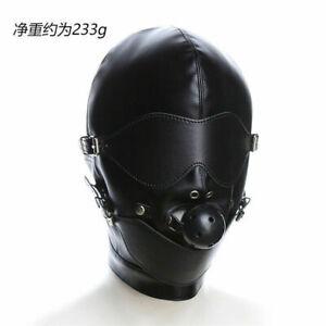 Full Hooded Mouth Gag Blindfold BDSM Head Mask Black PU Faux Leather Bondage hot