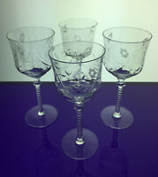 set of 4 crystal wine glasses with etched flowers barware cocktail glassware