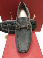 NIB Salvatore Ferragamo Parigi Asfalto Gray Suede Studded Loafers 7EE
