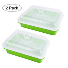 New listing 2 Pack Seed Sprouter Tray with Lid Bpa Free Bean Sprout Grower Wheatgrass Grower