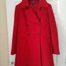 LADIES LONG RED WOOL COAT SIZE UKL 14 BY RALPH LAUREN