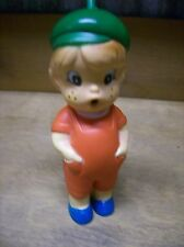 Parksmith Rubber Boy Wearing Overalls and Beanie