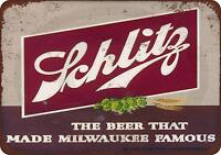 "1947 Schlitz Beer Vintage Retro Metal Sign 8"" x 12"""