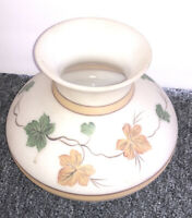 Vintage White Brown Satin Lamp Shade W Fall Leaf Leaves Painted On It