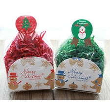 Blue Red Snowman Bell Party Gift Bags Cellophane Gusset Favour Christmas
