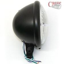 Headlight Black H 4 Chopper Black  Old School Custom Harley Bates Style 5.3/4""