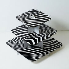 "2pk 12"" Black Cake Stand 3 Tier Square Cupcake Wedding Baby Shower Zebra Print"
