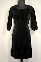 FRENCH VINTAGE 1950'S BLACK RAYON VELVET DRESS  SIZE 4-6