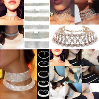 Bling Women Rhinestone Diamond Choker Necklace Crystal Wide Collar Jewelry Party
