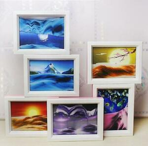 3D Moving Landscape Sand Painting Glass Frame Art Dynamic Hourglass Decoration