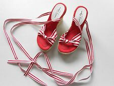 Chinese Laundry Lace Up Ties Red & White Striped Wedges Sandals Women Size 5.5
