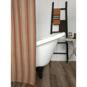 Grain Sack Stripe Oat and Barn Red Cotton Shower Curtain by Raghu