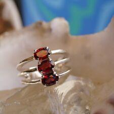 Massiv Breit Silberring 59 Granat Rubinrot Rot Elegant Ring Silber Schlicht Edel