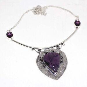 """Amethyst 925 Silver Plated Handmade Gemstone Necklace 16"""" Birthday Gift GW"""