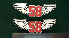 Simoncelli winged 58 Decals x2 Sticker Moto GP laptop helmet bike car scooter