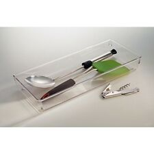"""InterDesign Li0nus Kitchen Drawer Organizer for Silverware- 6"""" x 15"""" x 2"""", Clear"""