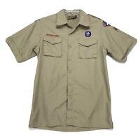 Boy Scouts BSA of America Vtg Official Uniform Shirt Mens S Khaki Tan PATCHES
