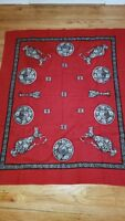 Vintage Tablecloth Red Black Grey/Mid Century Modern Goblets plate Pitcher Roses