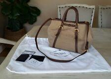 Authentic Prada Logo Jacquard Bauletto Aperto Handbag Crossbody with dustbag