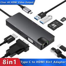 USB C 8 in 1 Hub Adapter zu HDMI VGA USB 3.0 Kartenleser RJ45 Ethernet Splitter