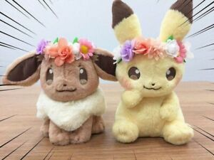 Pokemon Fete Flower Spring Eevee & Pikachu Soft Plush Doll Easter Version Gift