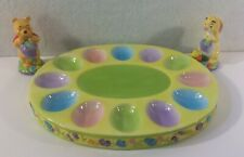 Disney China Winnie the Pooh Easter Egg Dish Ceramic W Rabbit Salt & Pepper