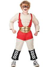 Child Muscle Chest Wrestler Fancy Dress Boys Sports Kids Champion Costume Outfit