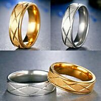 6mm Stainless Steel Silver or Gold Comfort Ring - New Mens Womens Wedding Band