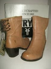 NEW FRYE Womens US 9.5 Carmen Short Back Lace Booties Fawn Tan Leather Boots Box
