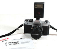 Pentax K1000 35mm SLR Film Camera with SMC Pentax-A 1:2 50mm Lens and Flash