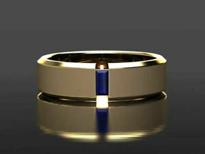 14K Yellow Gold Over Solitaire Engagement Anniversary Men's Ring 1.1 Ct Sapphire