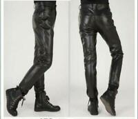Men's Casual Leather pants Motorcycle Trousers Biker Black Pencil Skinny Slim