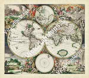 early antique World Map island California old decorative 1689 art print poster
