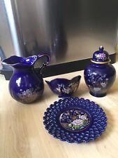 Rare Exquisite Vintage Japanese Dark Blue Fine China Set - Bird & Flowers
