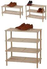 Nuevo soporte de madera natural Encerado Zapato Rack Organizador Almacenamiento Rack Estante