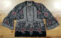 Lucky Brand Boho Peasant Blouse Long Sleeve Shirt Top Womens Size Medium